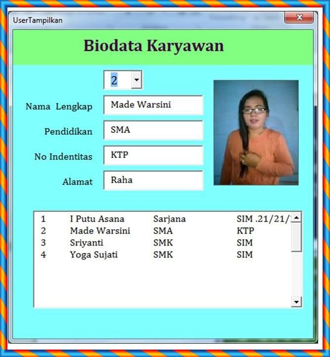 Download Aplikasi Biodata Karyawan Berbasis Excel Source Code Aplikasi