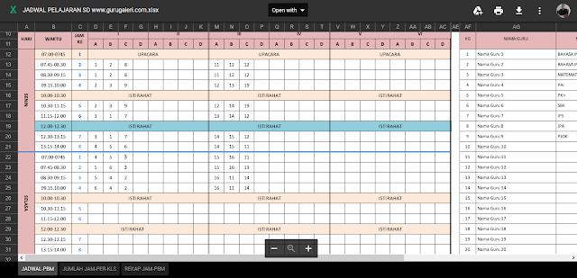 aplikasi jadwal pelajaran menggunakan excel - Download Contoh Aplikasi Pengolahan   Jadwal Pelajaran SMA Anti Bentrok  Berbasis Excel