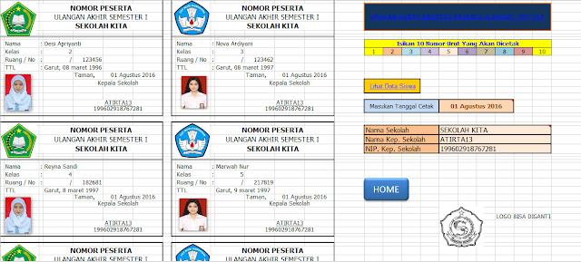 aplikasi cetak kartu ujian berbasis excel - Aplikasi Input dan Cetak  Kartu Ujian SD   Dengan Excel