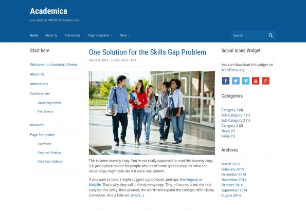 academica2 - 10 Template Wordpress Untuk Website Universitas Free