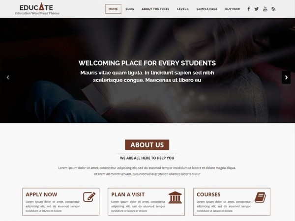 educate - Download Gratis 10 Template Wordpress Untuk Website Sekolah