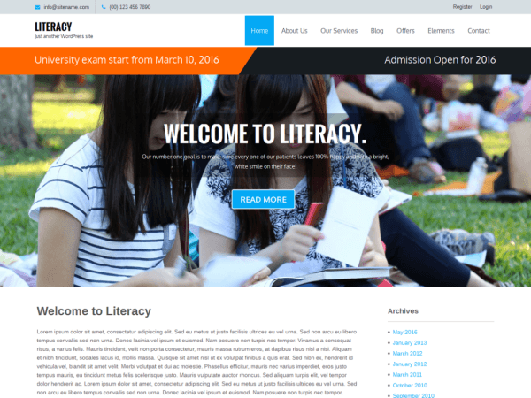 literacy - 10 Template Wordpress Untuk Website Universitas Free