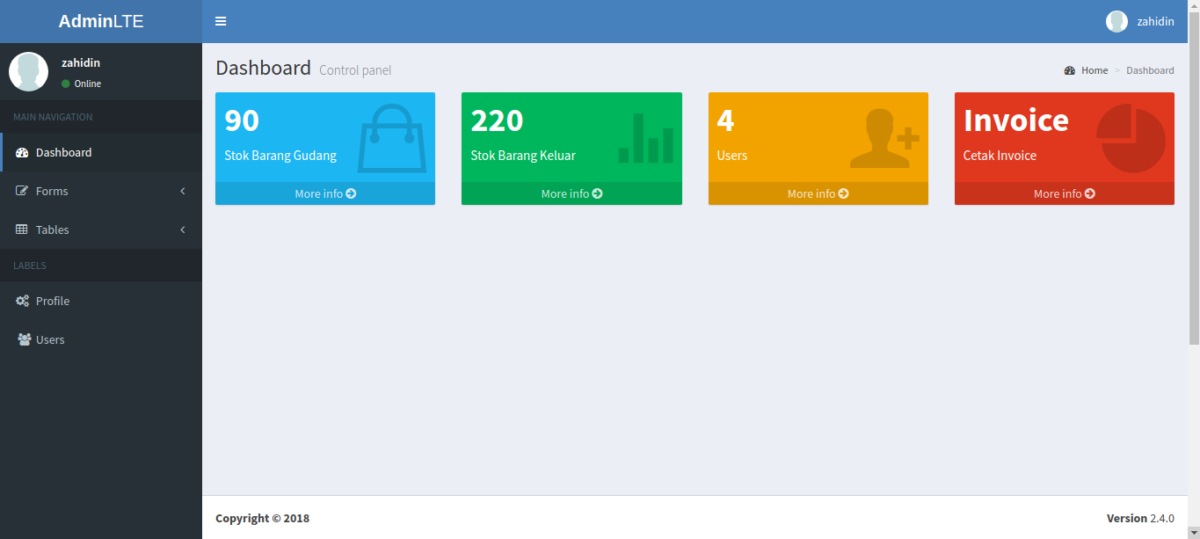 aplikasi inventory Dashboard Admin 1 - Source Code Aplikasi Inventory Gudang Berbasis Web